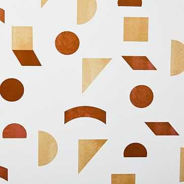 Mid-Century Tile Wallpaper, Natural/Orange - West Elm