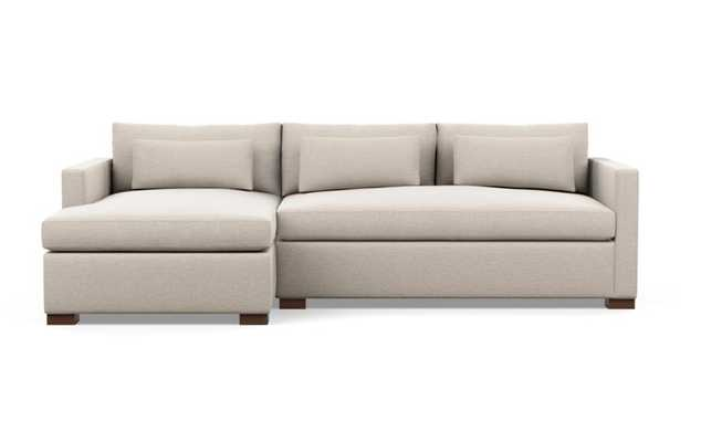 Charly Left Sectional with Beige Linen Fabric, extended chaise, and Oiled Walnut legs - Interior Define
