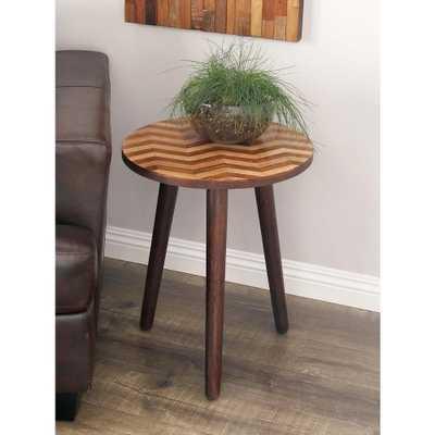 Wooden Chevron-Patterned Round Accent Table in Dark Brown, Dark Brown Wood - Home Depot