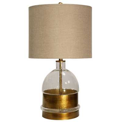 StyleCraft 28 in. Clear/Gold Table Lamp with Beige Hardback Fabric Shade - Home Depot