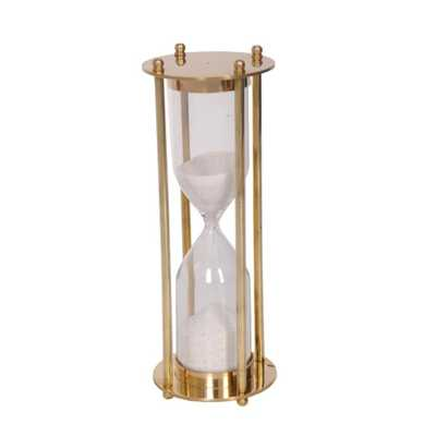 Benzara Traditional 5-Minute Brass and Glass Sand Timer in Hour Shape, Gold - Home Depot