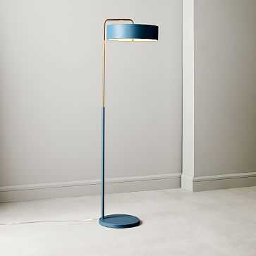 Library Floor Lamp, Slate Blue, Patinated Brass - West Elm