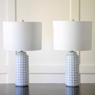 Decor Therapy Felix 24 in. White Table Lamp with Linen Shade - Home Depot