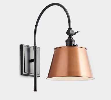 PB Classic Copper Tapered Metal Hood with Bronze Classic Arc Sconce - Pottery Barn