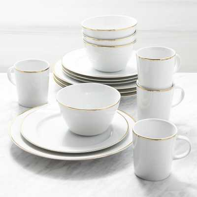 Maison Gold Rim 16-Piece Place Setting - Crate and Barrel