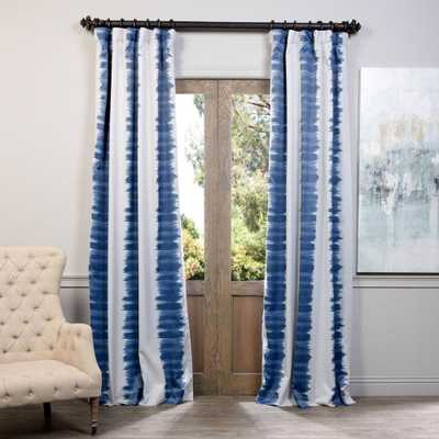 Exclusive Fabrics & Furnishings Semi-Opaque Flambe Blue Blackout Curtain - 50 in. W x 96 in. L (Panel) - Home Depot