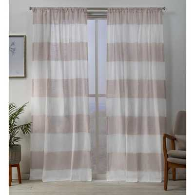 Exclusive Home Curtains Darma Sheer Linen Rod Pocket Top Curtain Panel Pair in Blush - 50 in. W x 84 in. L (2-Panel) - Home Depot