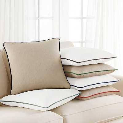 Velvet Piped Linen Pillow Natural/Persimmon  - Ballard Designs - Ballard Designs