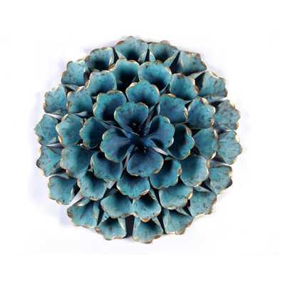 Winsome House Metal 23.5 in. Dia. Teal (Blue) Flower Wall Art - Home Depot