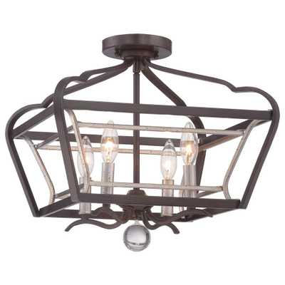 Minka Lavery Astrapia 4-Light Dark Rubbed Sienna with Aged Silver Semi-Flush Mount Light - Home Depot
