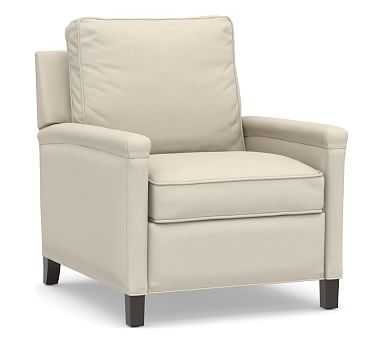 Tyler Square Arm Upholstered Recliner without Nailheads, Down Blend Wrapped Cushions, Performance Brushed Basketweave Ivory - Pottery Barn