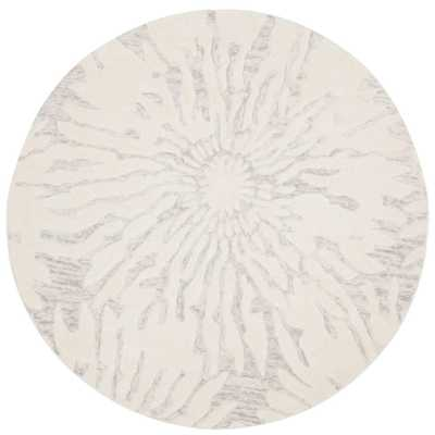 Bella Silver/Ivory 5 ft. x 5 ft. Round Area Rug - Home Depot