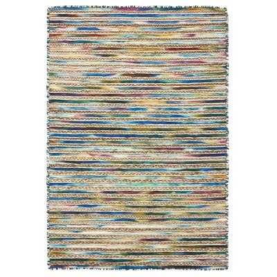 Vitagliano Striped Hand-Tufted Blue Area Rug - Wayfair