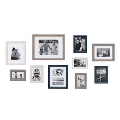 Bordeaux Multicolored Gray, Blue, and White Picture Frame (Set of 10) - Home Depot