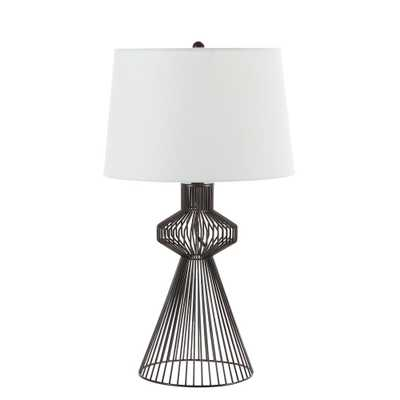 Silverwood Furniture Reimagined Gabe 26.25 in. Black Wire Table Lamp with Shade - Home Depot