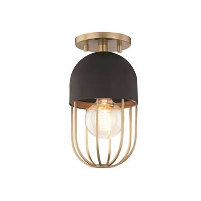Mitzi by Hudson Valley Lighting Haley 1-Light Aged Brass and Black Flushmount with Black Accents - Home Depot