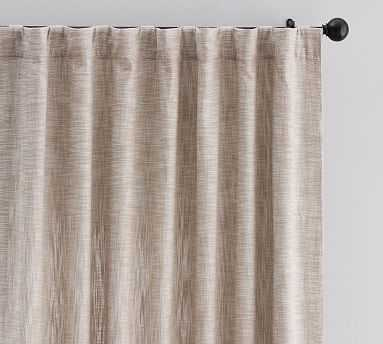 "Seaton Textured Drape 108"", Dark Flax - Pottery Barn"