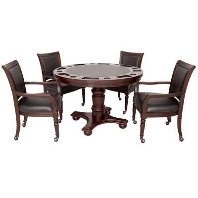 Bridgeport 2-in-1 Poker Game Table Set in Walnut Finish - Home Depot