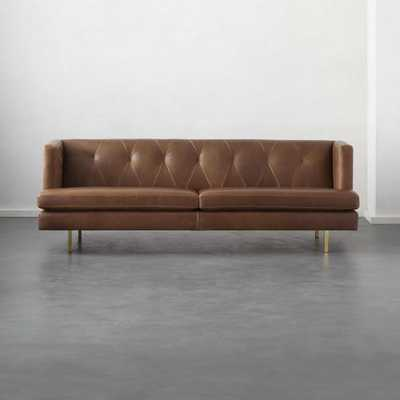 Avec Leather Sofa with Brass Legs - CB2