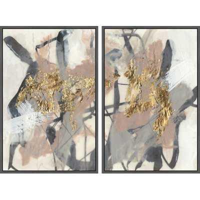 'Golden Strokes' 2 Piece Framed Acrylic painting Print Set on Canvas - Wayfair