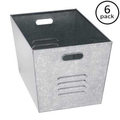 12 in. W x 11 in. H x 17 in. D Galvanized Steel (Silver) Utility Storage Bins (6-Pack) - Home Depot