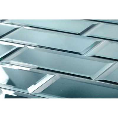 Echo 3 in. x 12 in. Blue Glass Mirror Peel and Stick Decorative Wall Tile (4-Pieces/Pack) - Home Depot