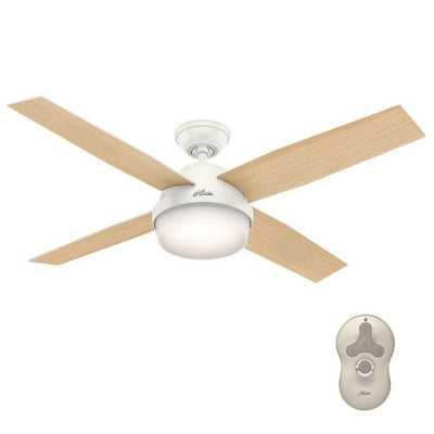Hunter Dempsey 52 in. LED Indoor Fresh White Ceiling Fan with Light Kit and Universal Remote - Home Depot