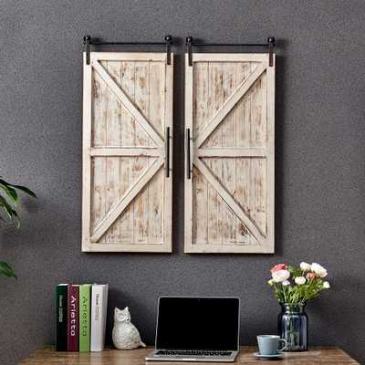 FirsTime & Co. Carriage House Barn Door Wooden Wall Plaque Set, Aged White/Metallic Gray - Home Depot