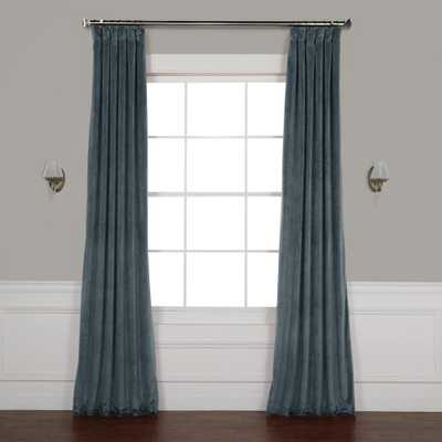 Exclusive Fabrics & Furnishings London Blue Plush Velvet Curtain - 50 in. W x 96 in. L - Home Depot