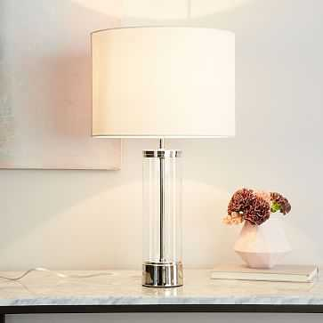 Acrylic Column Table Lamp + USB, Polished Nickel-Individual - West Elm