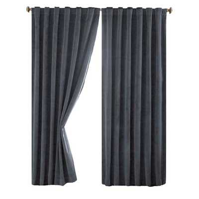 Absolute Zero Total Blackout Stone Blue Faux Velvet Curtain Panel, 84 in. Length - Home Depot