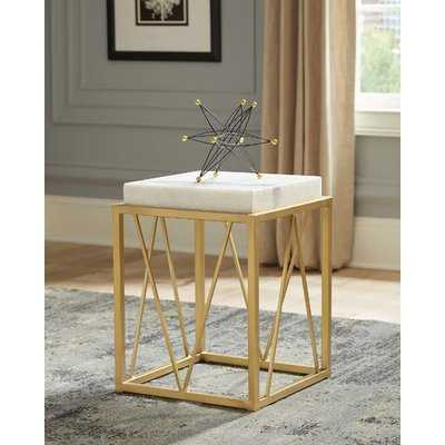 Thorp Square Accent Table White and Gold - Wayfair