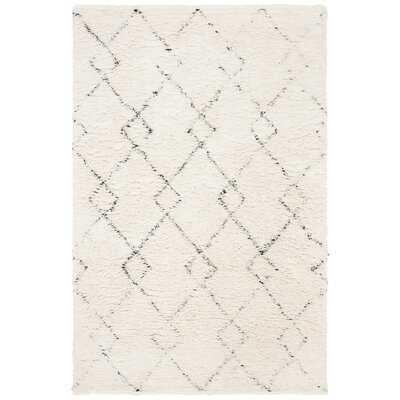 Powell Geometric Handmade Tufted Shag Wool Ivory/Black Area Rug - Wayfair
