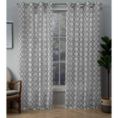 Exclusive Home Curtains Helena Charcoal (Grey) Printed Sheer Grommet Top Curtain - 54 in. W x 96 in. L - Home Depot
