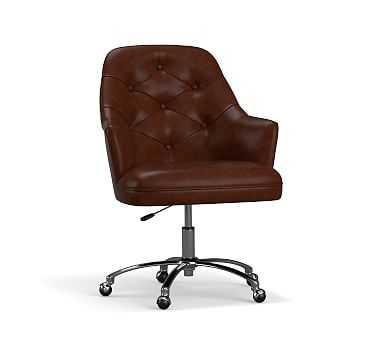 Everett Leather Desk Chair, Vintage Midnight - Pottery Barn