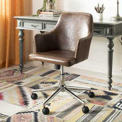 Swivel Office Chair, Brown - Wayfair