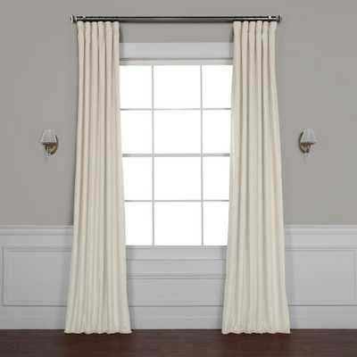 Exclusive Fabrics & Furnishings Vanilla Ivory Plush Velvet Curtain - 50 in. W x 96 in. L - Home Depot