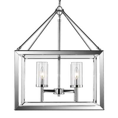 Golden Lighting Smyth 4-Light Chrome Chandelier with Clear Glass Shade - Home Depot