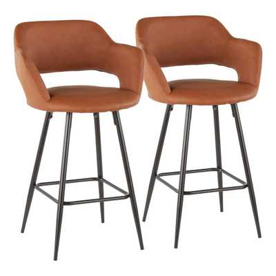 Lumisource Margarite 26 in. Brown Faux Leather Upholstery Counter Stool (Set of 2) - Home Depot