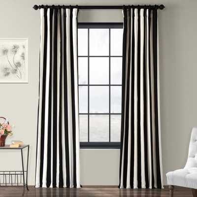 Exclusive Fabrics & Furnishings Cabana Black Room Darkening Printed Cotton Curtain - 50 in. W x 96 in. L - Home Depot