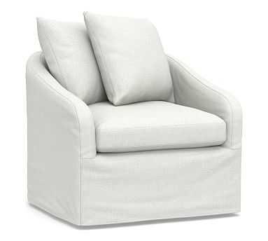Anniston Slipcovered Swivel Armchair, Down Blend Wrapped Cushions, Basketweave Slub Ivory - Pottery Barn