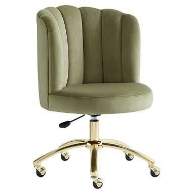 Channel Stitch Task Chair, Luxe Velvet Army Green - Pottery Barn Teen