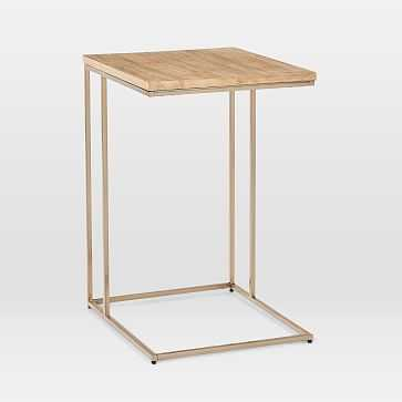 Streamline C-Side Table, Whitewash, Light Bronze - West Elm