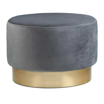 Simpli Home Bardoe Grey Velvet Large Round Ottoman Footstool - Home Depot