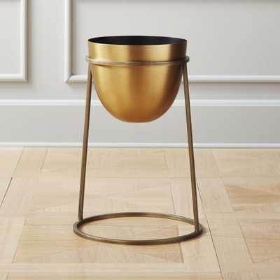 Milo Brass Planter On Stand Small - CB2