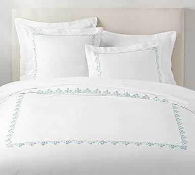 Blossom Embroidered Organic Duvet Cover, King/Cal King, Sea Glass - Pottery Barn