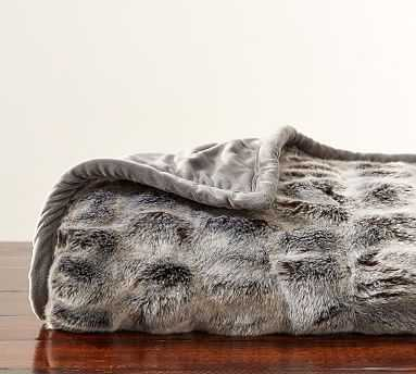 "Faux Fur Throw, 50 x 60"", Ruched Gray Ombre - Pottery Barn"
