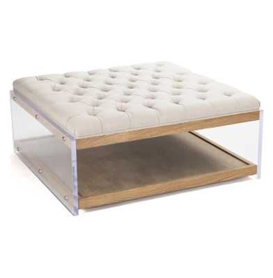 Square Linen Hollywood Regency Wood Acrylic Cocktail Ottoman - Kathy Kuo Home