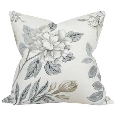 Emperor's Garden Grey - 18x18 pillow cover / pattern on front, solid on back - Arianna Belle