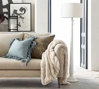 Noah Floor Lamp, Faux Alabaster Base With Large Gallery Straight SidedLinen Drum Shade, White - Pottery Barn